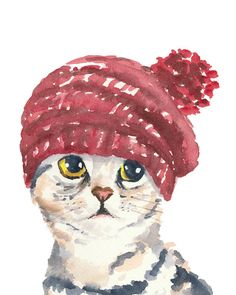 Cat Watercolour PRINT - Cat in a Knit Hat, Silver Tabby, Cat Illustration, 8x10 Art Print