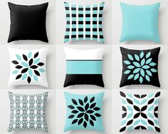 Couch Pillow Covers, Aqua Black White Pillow Covers, Floral Throw Pillow Covers, Home Decor, Mix and Match Decorative pillow covers