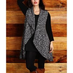 Reborn Collection Charcoal Marbled Shawl Collar Vest ($50) ❤ liked on Polyvore