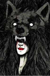 Beautiful drawing of a scary chick, bleeding from her face, wearing a mad wolf mask. Gotta be some inspiration in their somewhere.