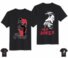 "Couple Love T-Shirts with Sayings ""His Harley"" ""Her Joker""- VutStore 