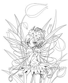 fairy and tulip... lineart by sureya on deviantART