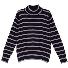 Melissa Mccarthy Seven7 Plus Striped Turtleneck Sweater ($27) ❤ liked on Polyvore featuring plus size women's fashion, plus size clothing, plus size tops, plus size sweaters, sweaters, tops, evening blue, plus size, womens plus size sweaters and long sleeve sweater