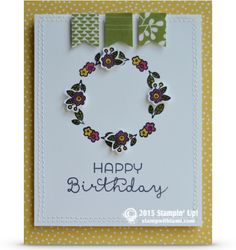BLOG HOP: Designer Series Paper Fun. Stampin Up Cottage Greetings stamp set, a wreath made from the  flowers for a birthday card. Colored with the Melon Mambo, Old Olive, Crushed Curry, Rich Razzleberry Stampin' Write markers.