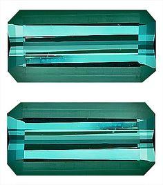 Pair of Genuine Blue Green Tourmaline Loose Gemstone, Emerald Cut, 10.0 x 5.0 mm, 3.51 Carats at BitCoin Gems