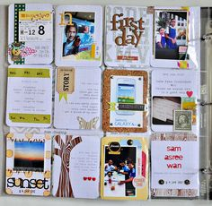 Crafting Trend:  Project Life. Create ATC's for each day, put into business card binder insert. (acid free untabbed business card page inserts sold at office supply stores) By Sasha Farina.