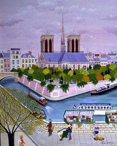 """The Paris of Cellia Saubry, french (b. naive oil painter and printmaker. Has exhibited her work since Henri Rousseau, Georges Seurat, Jean Antoine Watteau, Maurice Utrillo, Renoir, Cottage Art, Pop Art, Edward Hopper, Naive Art"
