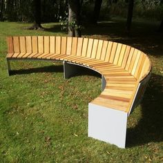 Custom curved mild steel & timber seat (4100mm diameter) #seating #blueton #bluetonsitefurniture #bluetonstreetfurniture #urbanfurniture #urbandesign #bench #citypark