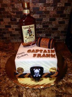 Captain Morgan Rum Barrel Cake With Edible Image Label