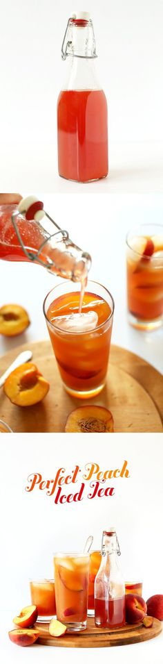 Absolutely PERFECT Peach Iced Tea! Just 3 ingredients including the from-scratch peach simple syrup! Perfect for cooling down on hot summer days.   minimalistbaker.com #vegan #glutenfree