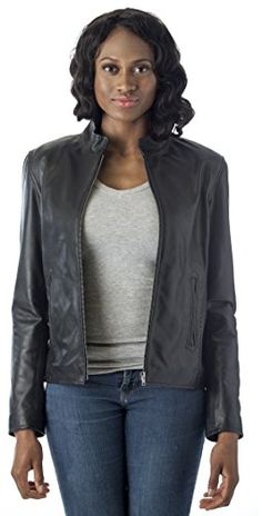 3e8a36497181 REED Womens Moto Leather Fashion Jacket Genuine Leather Coat 4XL Black     Find out more