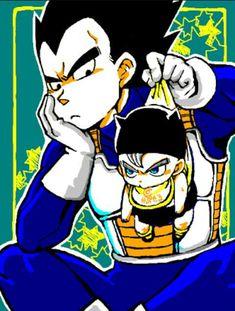 Dragon Ball Z - Vegeta & Trunks Dragon Ball Gt, Dragon Z, Baby Trunks, Vegeta Y Trunks, Vegeta And Bulma, Otaku, Manga Dragon, Fan Art, Anime Costumes