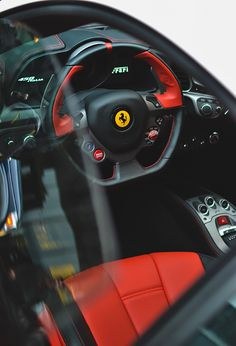 Interior of Ferrari 458 Italia.