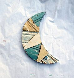 Blue Moon Wall Art, Reclaimed Wood Art, Crescent Moon Art, Nursery Decor, Wood Wall Art Moon Wall Decor, Moon Nursery Art, Wood Mosaic Art