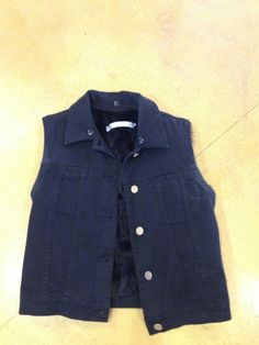 Superfine black denim vest with goat hair lining 2 fits 2-6