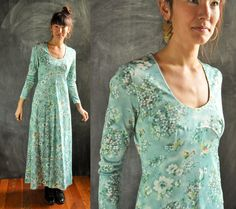 Vintage 70s Maxi Dress In Light Blue Green Watercolor Floral by drowsySwords on Etsy
