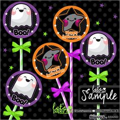 Halloween Toppers, Kawaii Toppers, Halloween Decor, Halloween Decorations, Printable Toppers, Cute Toppers, Cupcake Toppers, Printable, Let's Paper Up, Etsy, Lilipops