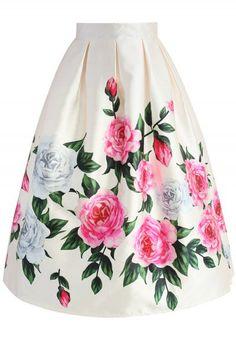 Retro Felicitous Peony Printed Midi Skirt