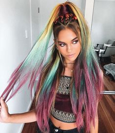 Ombre Hair Color, Cool Hair Color, Fire Ombre Hair, Bob Hairstyles, Braided Hairstyles, Gorgeous Hairstyles, Formal Hairstyles, Natural Hairstyles, Coachella Hair