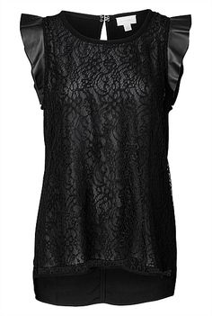 Shirts   Cami tops, henley blouses & lace shirts   Witchery Online - Lace Leather Frill Top