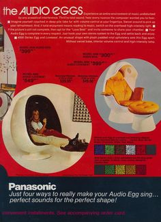 The Audio Eggs by Panasonic - Liz London - - Pierrel Bunn - Cheap Dining Room Chairs, Farmhouse Table Chairs, Vintage Advertisements, Vintage Ads, Pink Desk Chair, Desk Chairs, Swing Chairs, Beach Chairs, Office Chairs