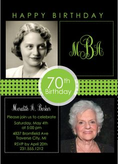 2 Photo Birthday Invitation - Adult Birthday Party Invitation