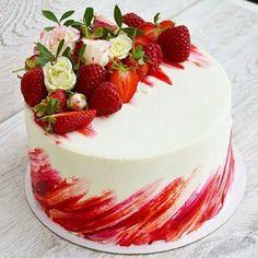 ▷ 1001 + ideas for yogurette cake that evokes the sense of taste .- ▷ 1001 + Ideen für Yogurette Torte, die den Geschmackssinn verwöhnt Yogurt cake with strawberries, fresh flowers and fruit to decorate a cake, raspberries - Beautiful Birthday Cakes, Beautiful Cakes, Amazing Cakes, Food Cakes, Cupcake Cakes, Mini Cakes, Red Wine Gravy, Gateaux Vegan, Best Pie