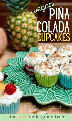 🍍Soft and fluffy pineapple coconut cupcakes topped with a luscious coconut buttercream frosting. It's like experiencing the sweet taste of an island paradise with each bite! Vegan Sweets, Vegan Snacks, Vegan Desserts, Dessert Recipes, Vegan Cake, Coconut Buttercream, Buttercream Frosting, Unsweetened Coconut Milk, Canned Coconut Milk