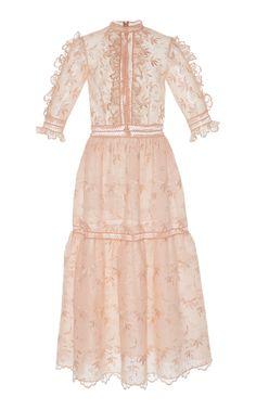 Ruffle Embroidered Dress by COSTARELLOS for Preorder on Moda Operandi