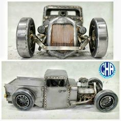Rat rod pick up truck slammed metal art welding old ford