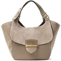 Michael Kors Collection Josie Large Suede Leather Shopper Tote Bag ($1,635) ❤ liked on Polyvore featuring bags, handbags, tote bags, dark taupe, suede totes, zippered tote bag, brown shoulder bag, michael kors handbags and shopper tote