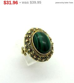 ON SALE! Vintage Malachite Ring, Gold Plated Sterling Silver Statement Ring, Size 8