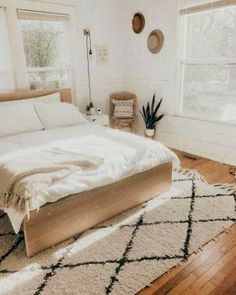 Do You Like An Ideas For Scandinavian Bedroom In Your Home? If you want to have An Amazing Scandinavian Bedroom Design Ideas in your home. Bedroom Inspo, Home Decor Bedroom, Modern Bedroom, Bedroom Furniture, Large Furniture, Design Bedroom, Hippy Bedroom, Scandinavian Bedroom Design, Rug For Bedroom