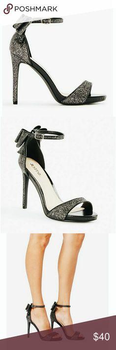 ddc2985513d47f 💎NEW💎 Rockelle Glitter Bow Sandal Stiletto Heels Rockelle Glitter Bow  Strappy Heeled Sandals