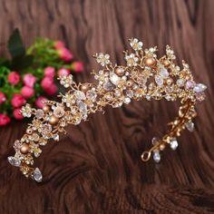 Bridal Headpiece Gold Crown Wedding Headpiece by Luxurybrides