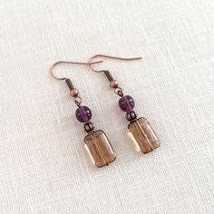 Czech glass bead earrings. Purple and Topaz on copper ear wires. by J Jewelry Design.