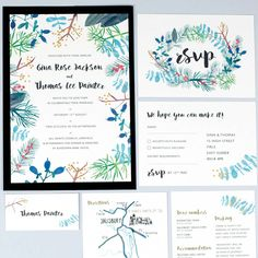 Blue Botanicals Wedding Invites And Rsvps