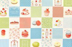Japanese Fabric Yuwa Sweets Time Macaron - B - 50cm