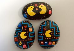 Pac Man & Ms.Pac Man video Atari games, painted rocks by Holly N.
