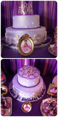 Sofia the First Birthday cake. Cake made by local bakery.  Cake topper is a Sofia the 1st tiara from Party City and was purchased separately. Small gold picture frames from Michael's craft store.