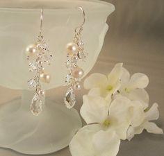 Wedding Earrings, Bridal Earrings,  Freshwater Pearls Crystal Earrings   BridalChic - Wedding on ArtFire
