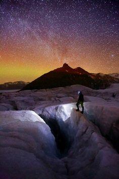 Svinafellsjokull, Milky Way and Aurora Borealis, Iceland