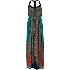 Green Aztec Print Maxi Dress (2305 RSD) ❤ liked on Polyvore featuring dresses, vestidos, cocktail dresses, green holiday dress, evening dresses, sweetheart neckline cocktail dress and maxi dresses