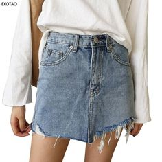 9b85801def 2017 Summer Jeans Skirt Women High Waist Jupe Irregular Edges Denim Sk -  CHICO AND SIMBA