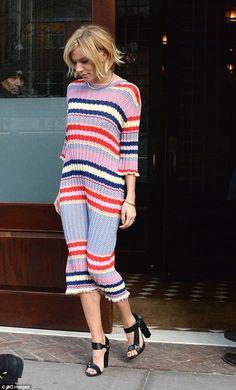Sienna Miller.. Celine Spring 2015 Jacquard Striped Knit Dress, Jennifer Fisher X Stop It Right Now Choker, and Pierre Hardy Resort 2015 Sandals..