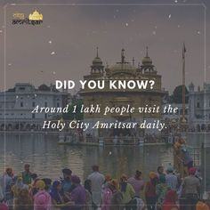 "Around 1 lakh people visit the City Amritsar daily to visit the main attraction of Amritsar ""The Golden Temple."" Well for that you can take a virtual tour to the beautiful city through our website. Virtual Travel, Virtual Tour, Did You Know, Told You So, Golden Temple Amritsar, Main Attraction, Heaven On Earth, Travel Guide, Fun Facts"