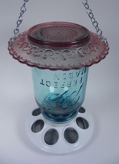 Glass Mason Jar Bird Feeder - Vintage Blue And Pink