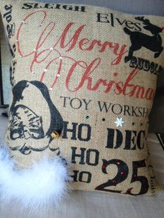 Santa Subway Art Burlap Pillowcase by MonMellDesigns on Etsy, $40.00