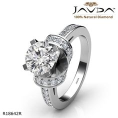 Knot Style Pave Setting Round Diamond Engagement Ring 14k White Gold.