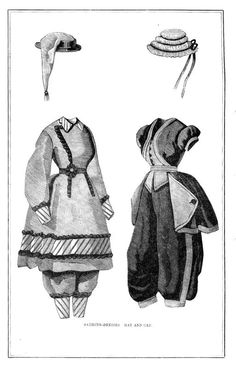 Two bathing dresses with caps from Peterson's Magazine Please note: this image has been digitally enhanced to make it easier to print. Victorian Era, Victorian Fashion, Vintage Fashion, 1870s Fashion, Women's Fashion, Bathing Costumes, Vintage Swim, Steampunk Costume, Nautical Fashion